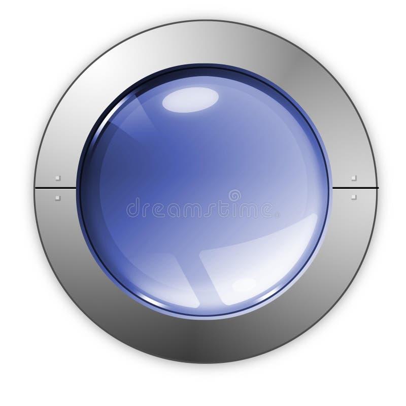 niebieski przycisk szkła obrazy stock