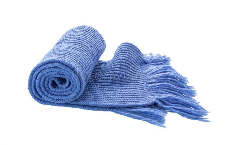 Niebieski szalik dziany wyizolowany na biało zdjęcie royalty free
