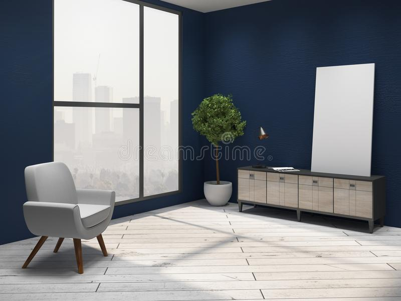 niebieski wewnętrzny salon royalty ilustracja
