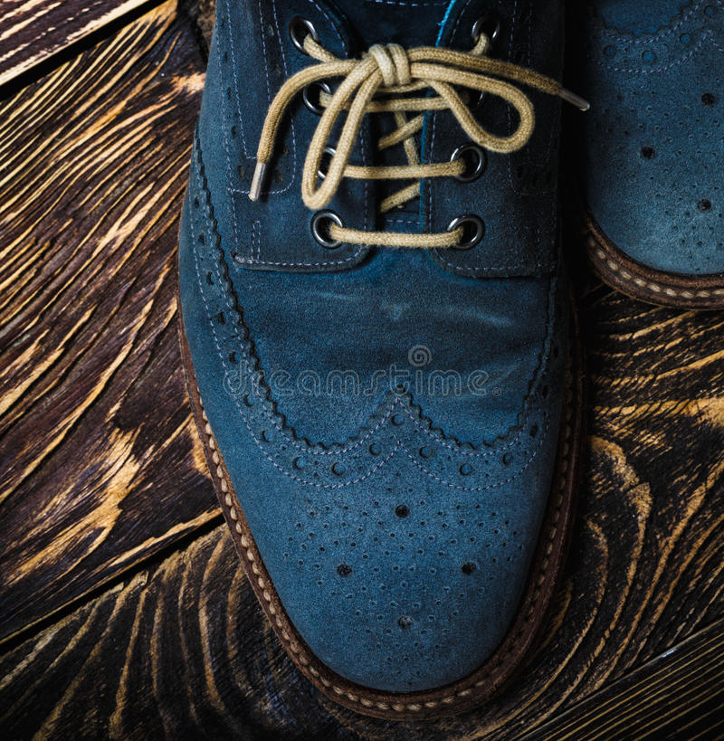 niebieski zamszowe buty zdjęcia royalty free