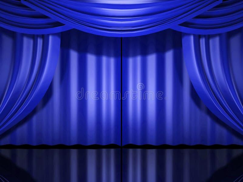 niebieski zasłony scenę ilustracji