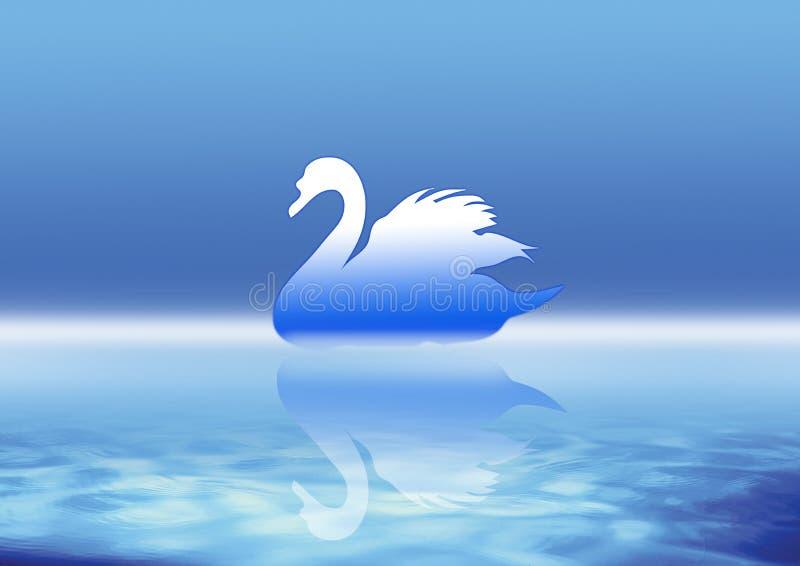niebieskie łabędzie ilustracji