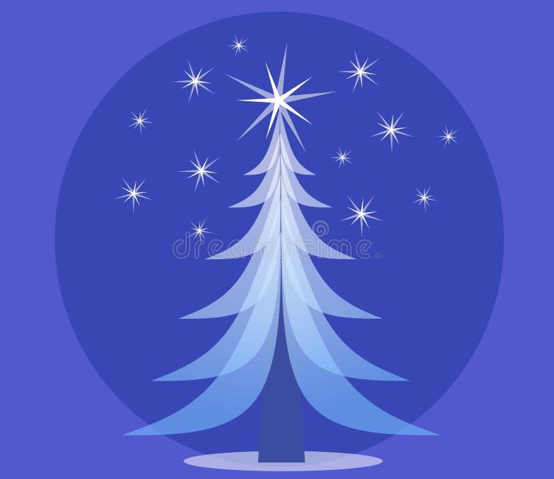niebieskie święta nieprzezroczyste drzewo ilustracja wektor