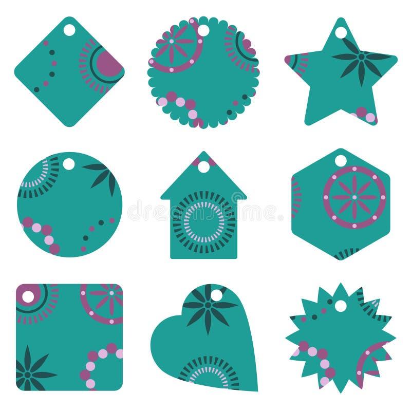 niebieskie dar etykiety ilustracji