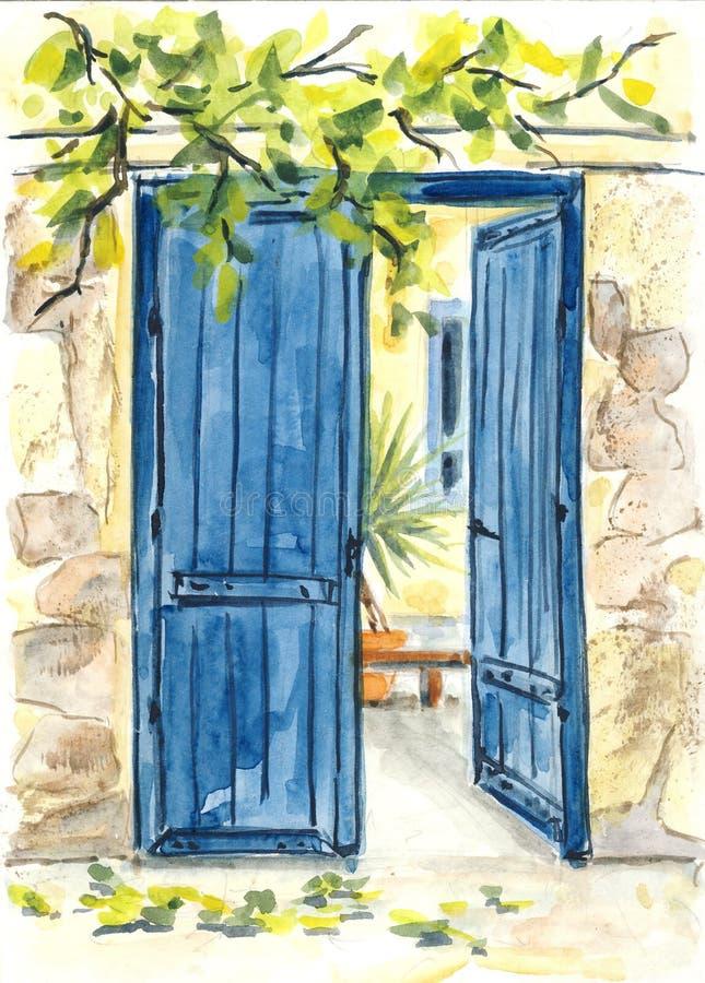 niebieskie drzwi ilustracji
