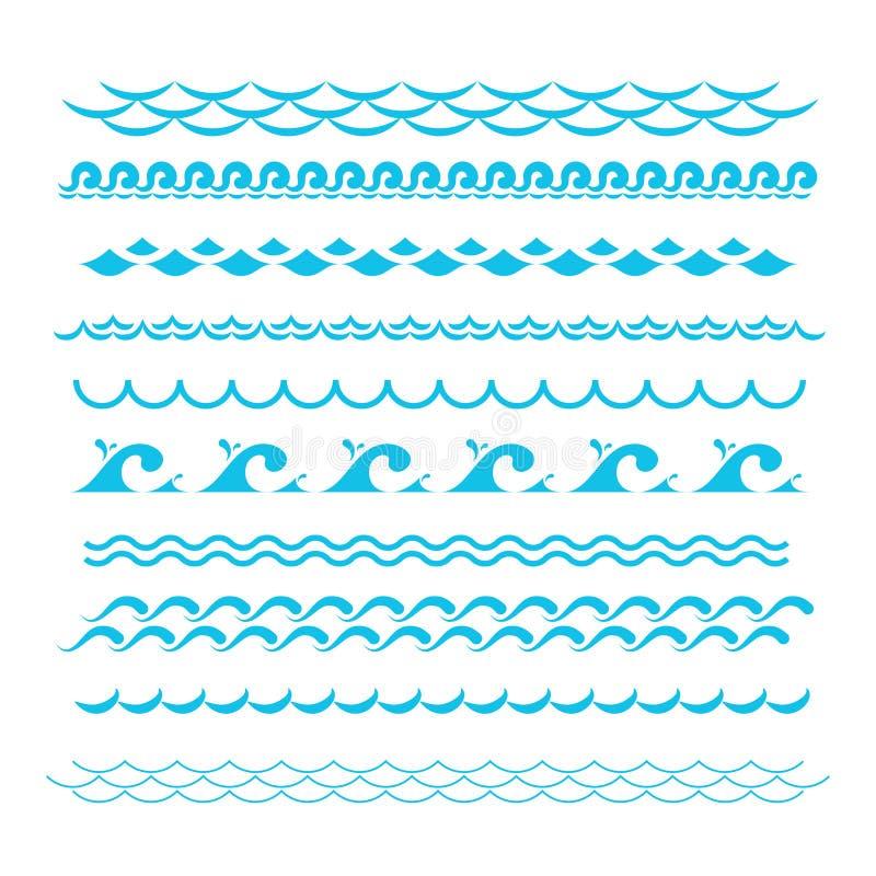 niebieskie fale oceanu Denni falowego wektoru sylwetki znaki Wodni graficzni elementy odizolowywający ilustracja wektor