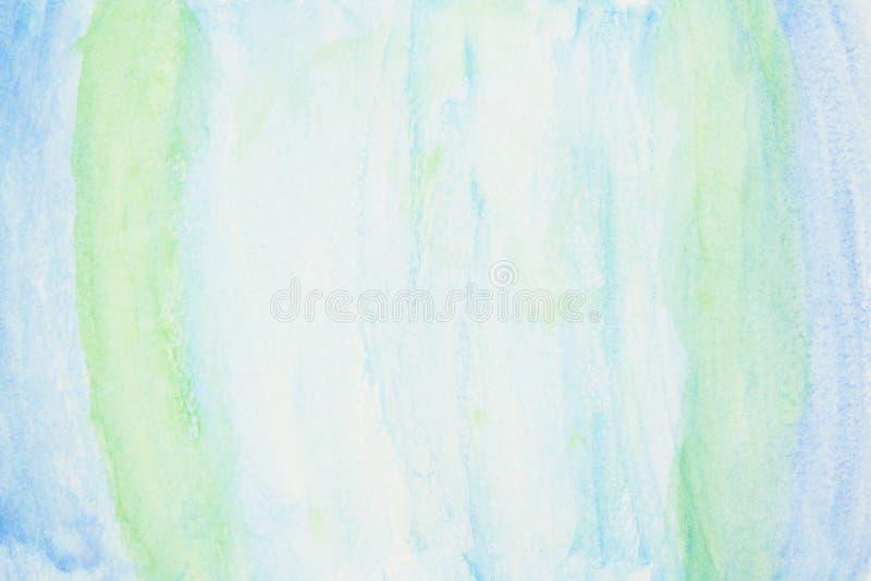 Niebieskie i zielone tło akwarelowe z teksturą obraz stock