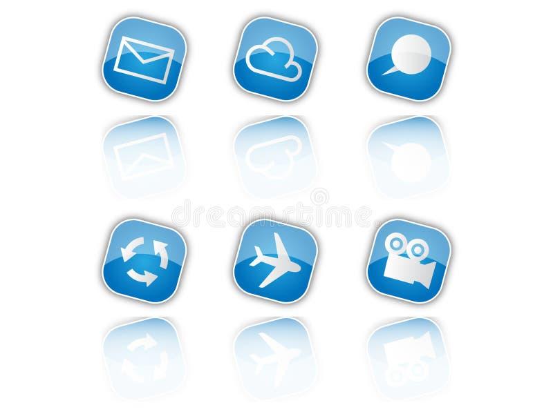 niebieskie ikony royalty ilustracja