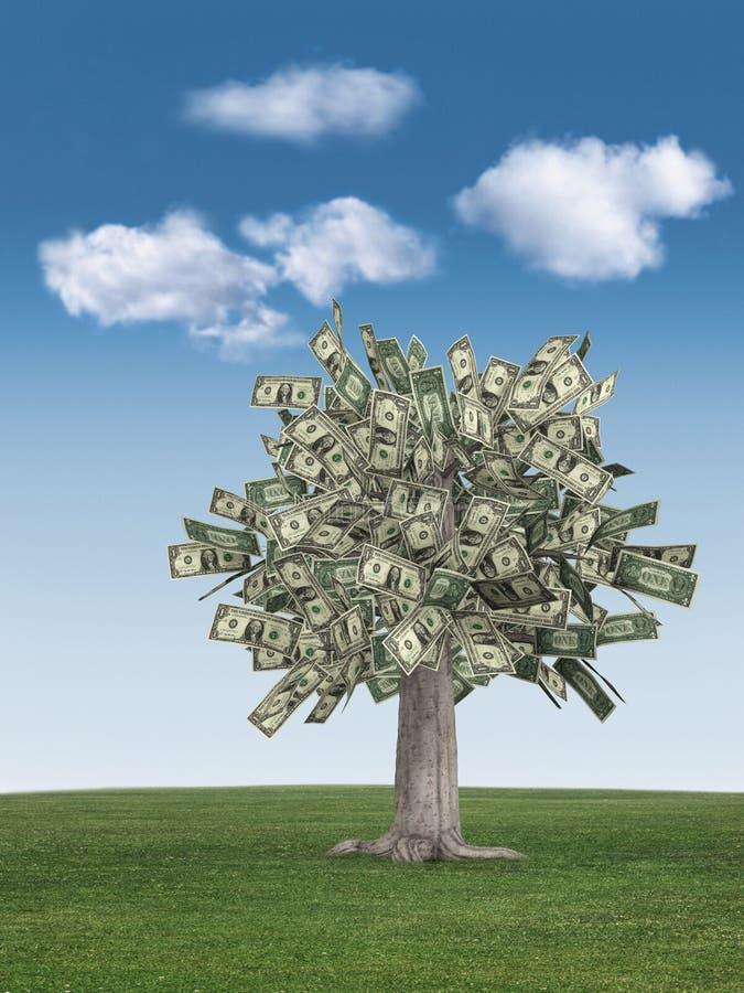 niebieskie niebo drzewo pieniądze ilustracji