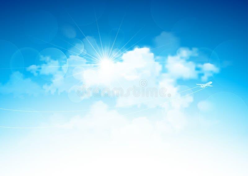 Niebieskie niebo i chmury ilustracja wektor