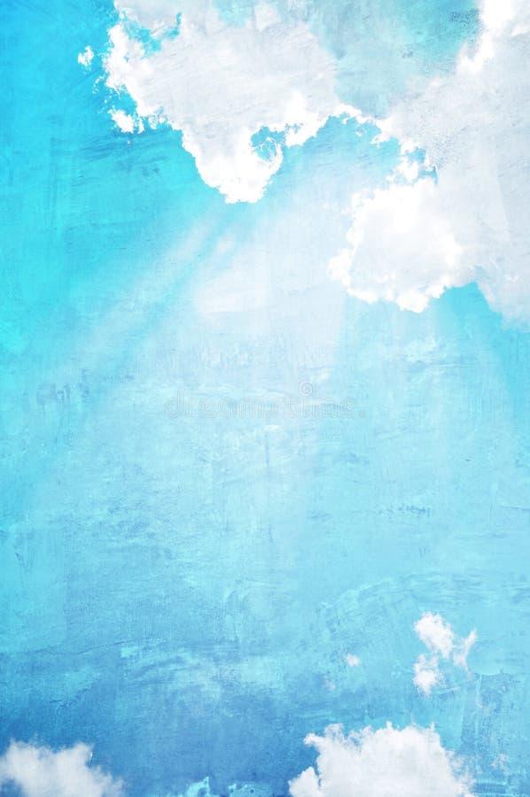 Niebieskie niebo i chmury na betonowej ściany teksturze zdjęcie royalty free