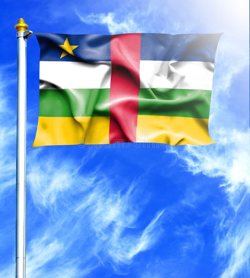 Niebieskie niebo i maszt z wieszającą falowanie flagą Środkowo-afrykański republika ilustracji