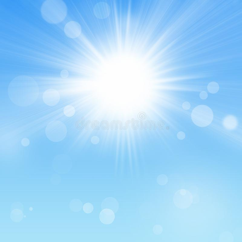 Niebieskie Niebo i słońce z Bokeh ilustracja wektor