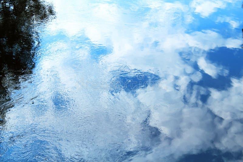 Niebieskie niebo odbijająca woda zdjęcia stock