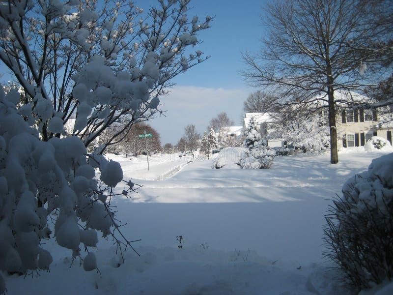 Niebieskie niebo po śnieżycy sąsiedztwa ulicy fotografia stock