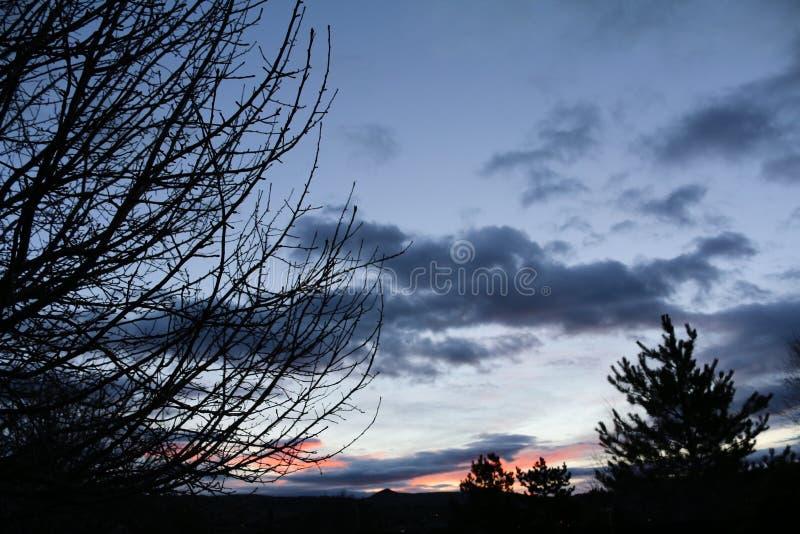 Niebieskie niebo wschód słońca fotografia royalty free