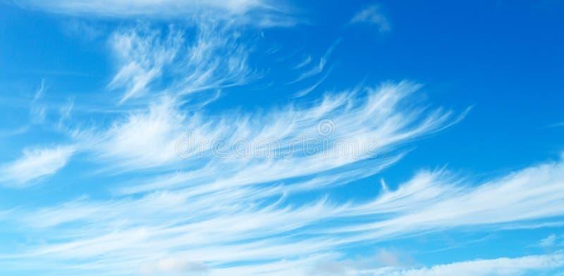 Niebieskie niebo z Lekkimi chmur pierzastych chmurami zdjęcie stock