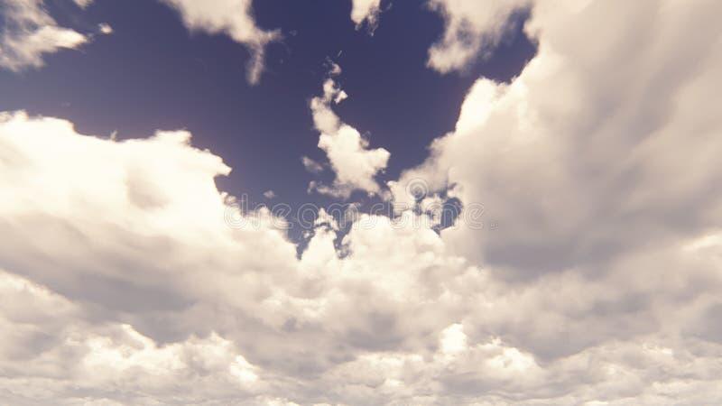 Niebieskie niebo z pięknym cloudscape z ampuł chmurami i światła słonecznego łamanie przez chmury gromadzimy świadczenia 3 d zdjęcie stock