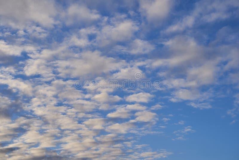 Niebieskie niebo z udzia?ami ma?e chmury zdjęcie royalty free
