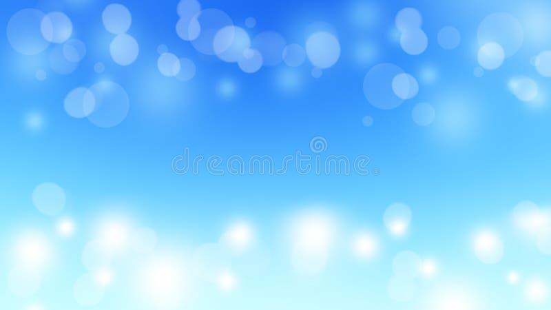 Niebieskie niebo zimy bokeh zaświeca abstrakcjonistycznego tło świątecznego zdjęcie stock
