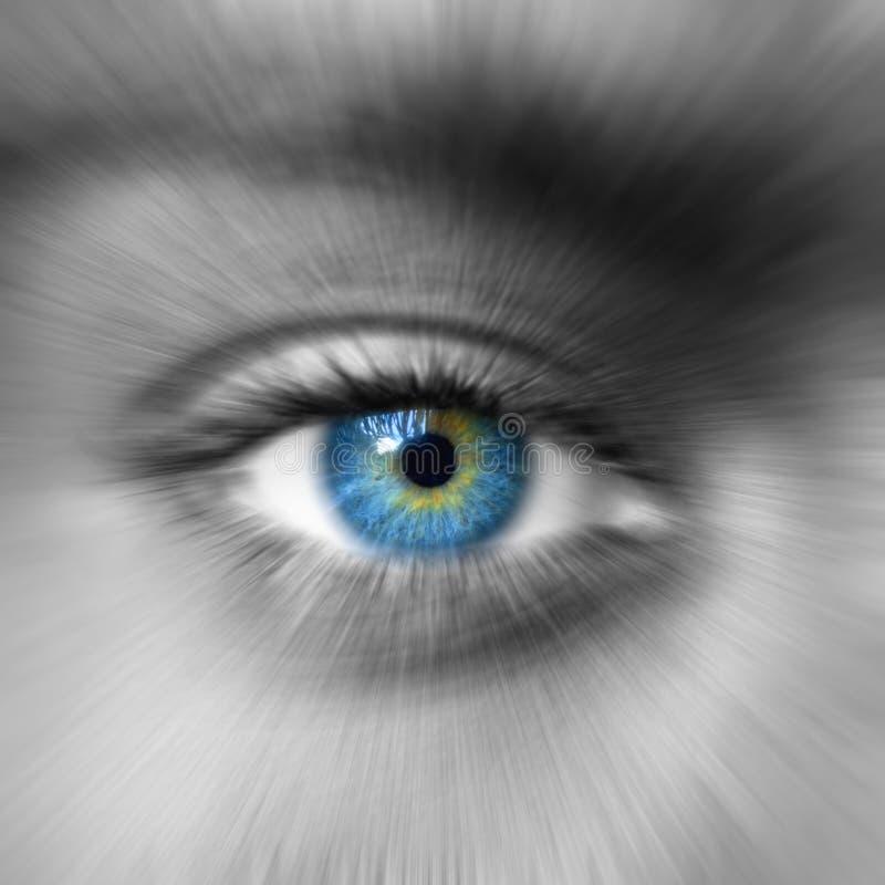 Niebieskie oko z zoomu skutkiem fotografia royalty free
