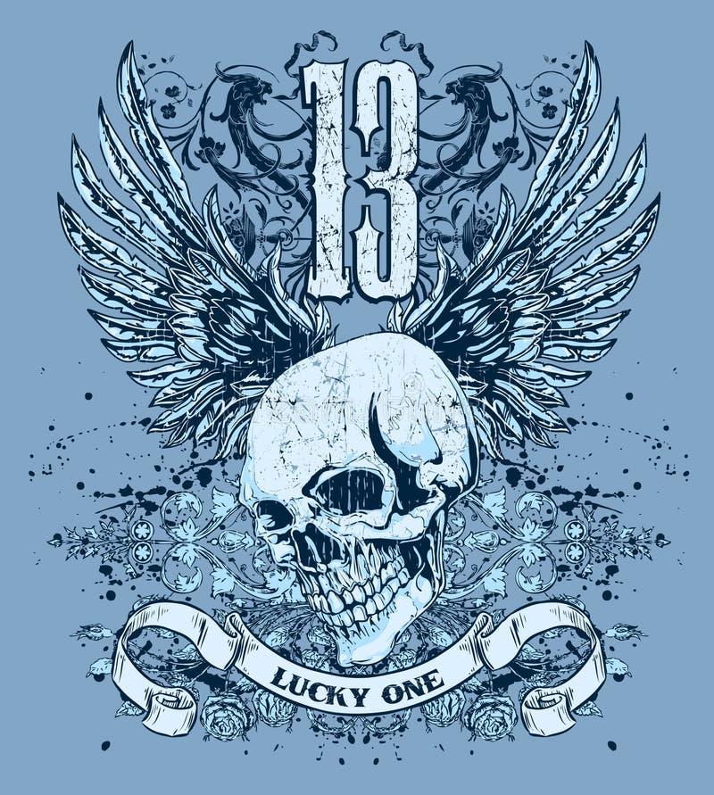 niebieskie projekt czaszki skrzydła zdjęcia royalty free