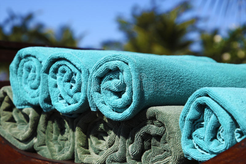 niebieskie ręczniki fotografia stock