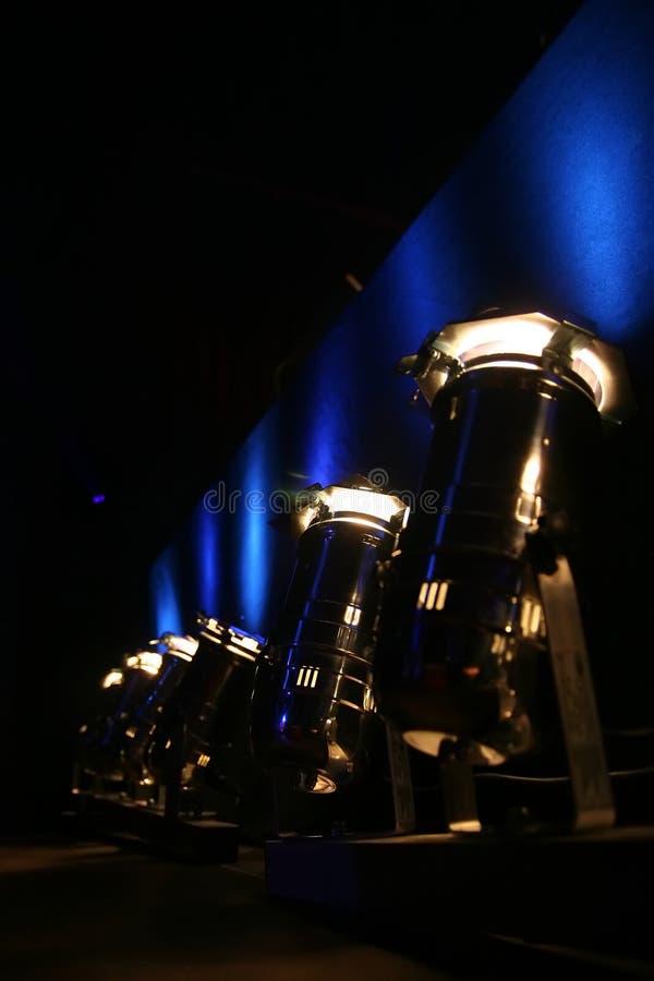 niebieskie shining reflektory zdjęcie stock