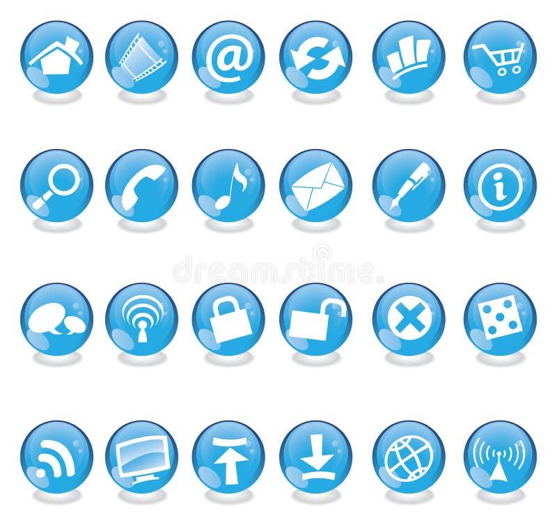 niebieskie szkła ikony ilustracji