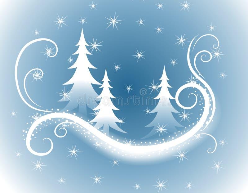 niebieskie tło święta dekoracyjni drzewa royalty ilustracja