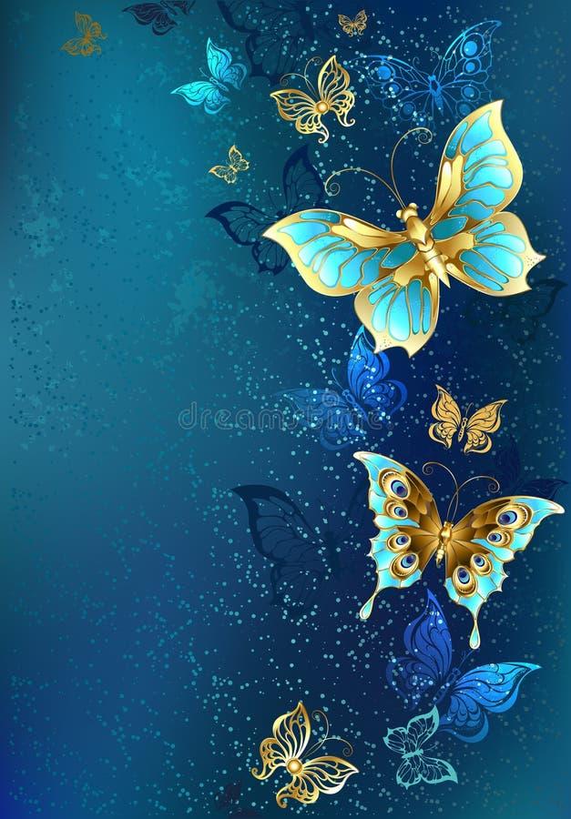 niebieskie tło motyle złote royalty ilustracja