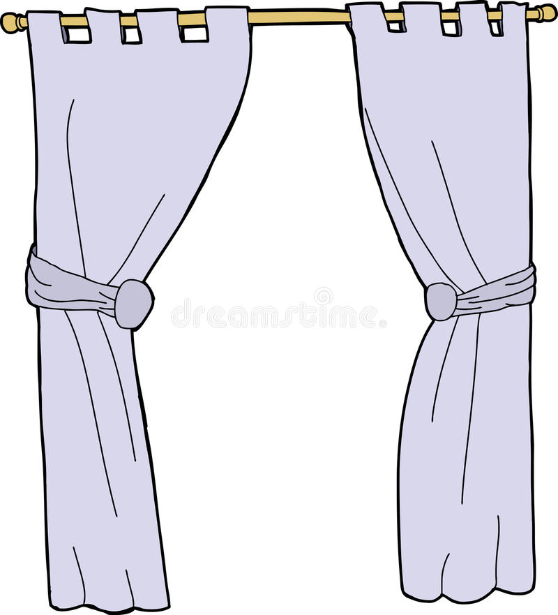 niebieskie zasłony royalty ilustracja