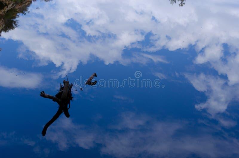 Niebieskiego Nieba Nieżywy Drewniany odbicie zdjęcie stock