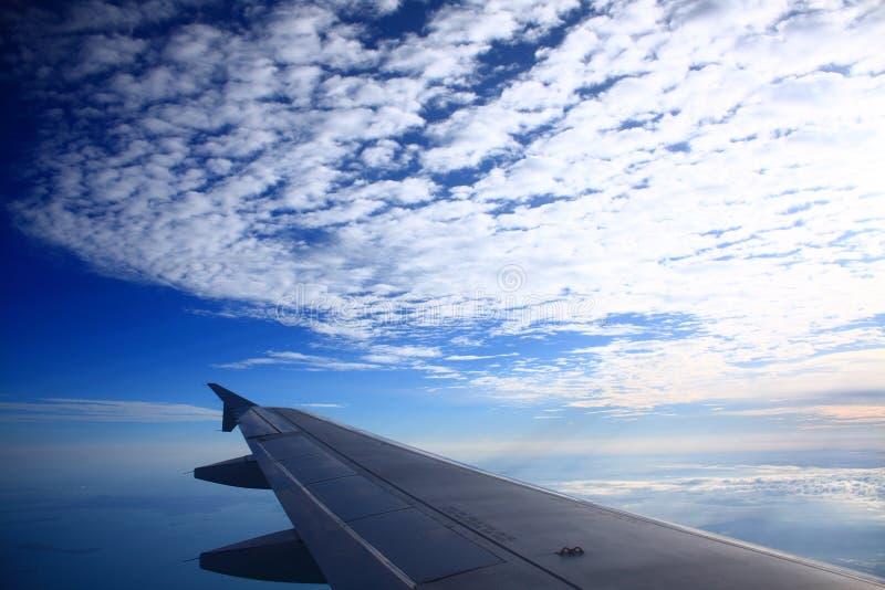 niebieskiego nieba samolotowy skrzydło obraz stock