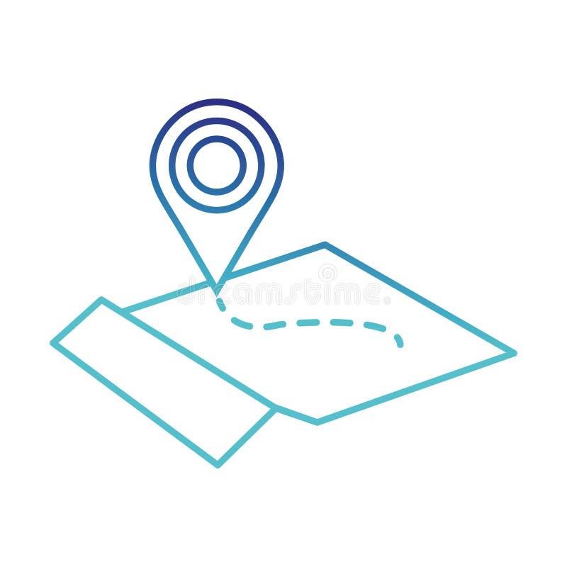 Niebieskiej linii geografii globalna mapa z lokacja symbolem ilustracja wektor