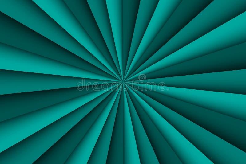 Niebieskozielony abstrakcjonistyczny tło, trzy cienia zielone liny royalty ilustracja