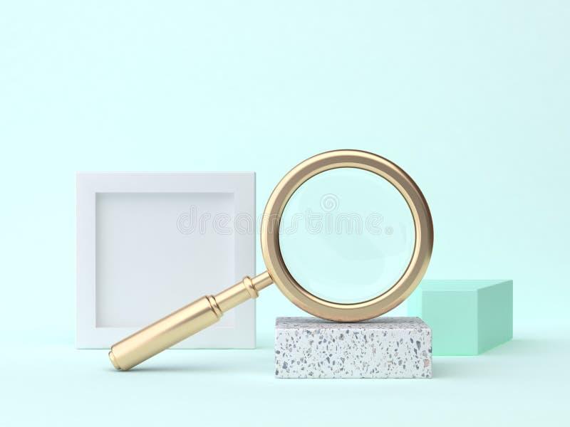 Niebieskozielony geometryczny sceny 3d renderingu złota powiększać - szklany abstrakt ilustracji