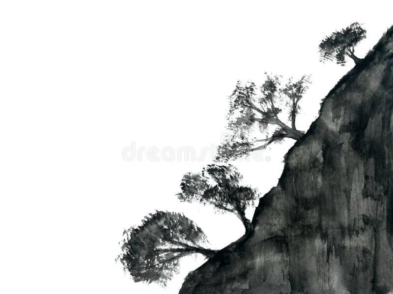 Niebla china de la montaña del árbol del paisaje de la tinta de la acuarela Oriental tradicional estilo del arte de Asia Aislado  stock de ilustración
