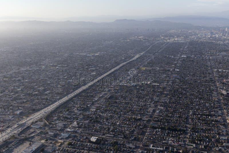 Niebla con humo Areial del lavabo de Los Ángeles fotografía de archivo libre de regalías