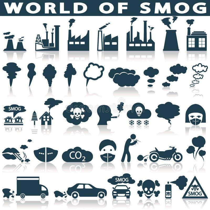 Niebla con humo, iconos de la contaminación fijados ilustración del vector