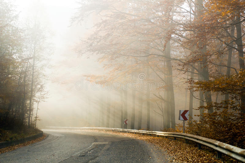 Niebla en la carretera nacional foto de archivo