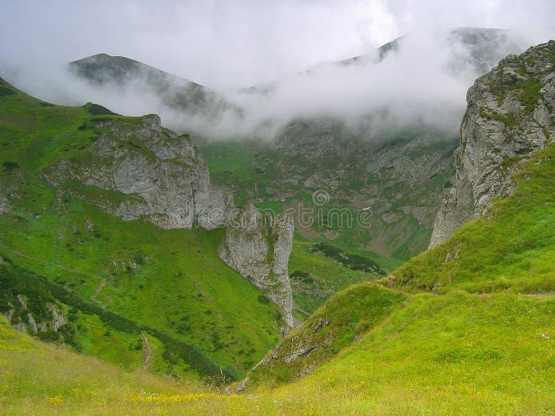 Niebla en Tatras polaco imagen de archivo
