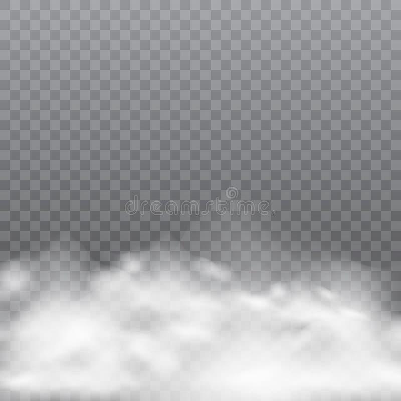 Niebla o humo realista en fondo transparente Vector ilustración del vector