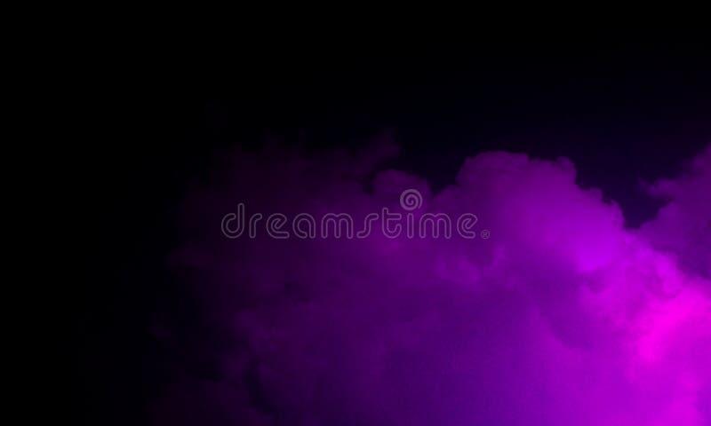 Niebla púrpura abstracta de la niebla del humo en un fondo negro ilustración del vector