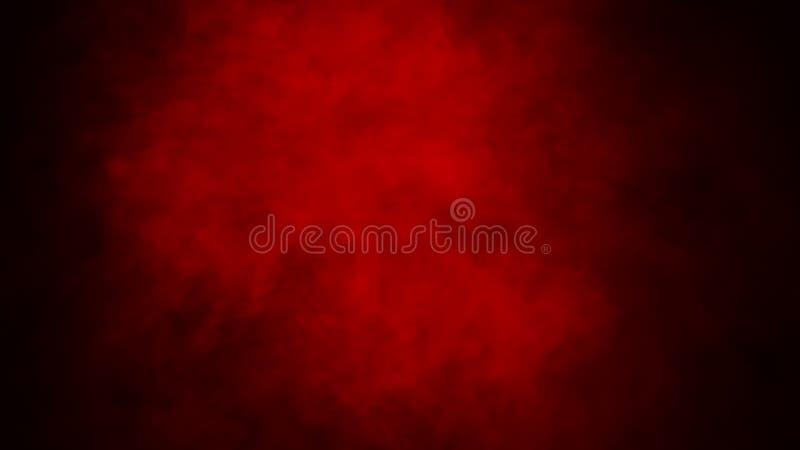Niebla roja o fumar efecto especial aislado sobre el piso fondo rojo de la nubosidad, de la niebla o de la niebla con humo libre illustration