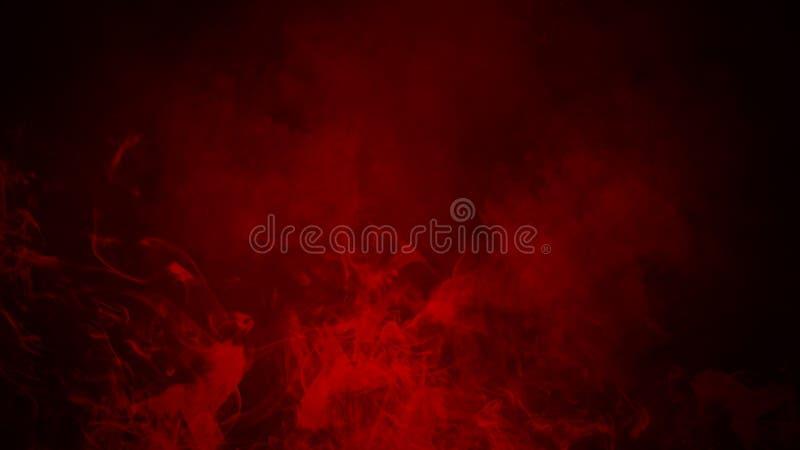 Niebla roja o fumar efecto especial aislado sobre el piso fondo rojo de la nubosidad, de la niebla o de la niebla con humo stock de ilustración