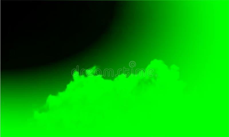 Niebla verde abstracta de la niebla del humo en un fondo negro Aislado, brumoso ilustración del vector