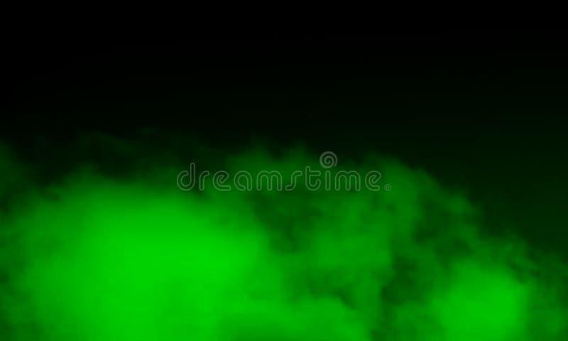 Niebla verde abstracta de la niebla del humo en un fondo negro foto de archivo