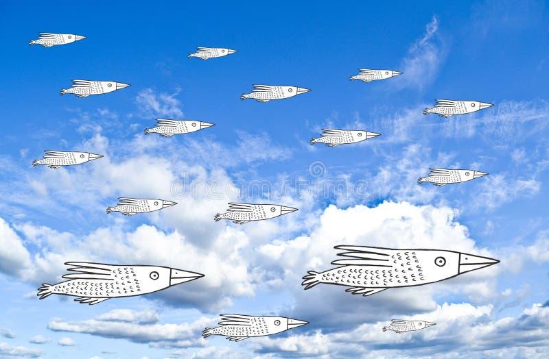 niebo, chmury niebieski ilustracji