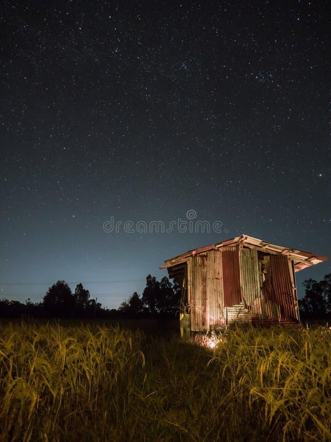 Niebo i gwiazdy przy polem zdjęcie stock
